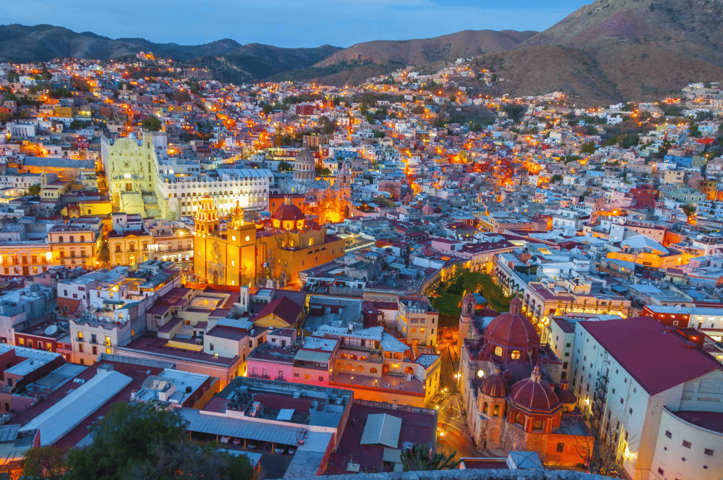 Aerial view of a beautiful Mexican town.