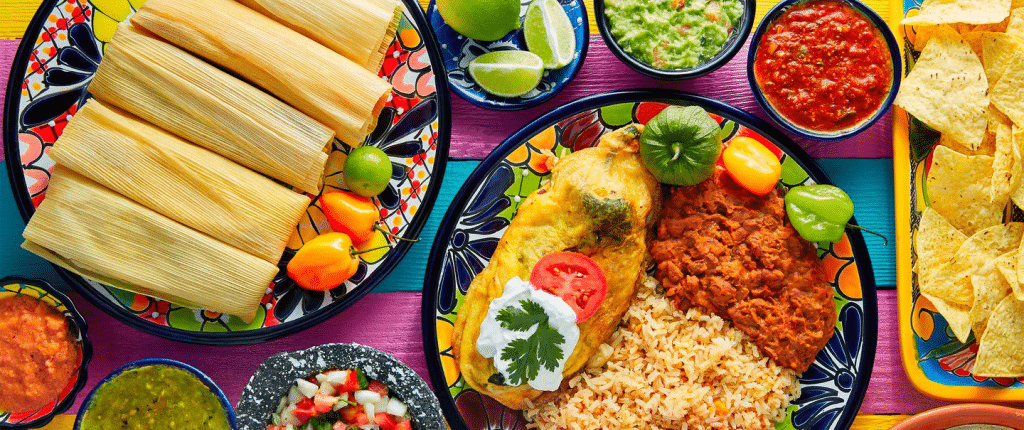 A picture of Mexican traditional food.