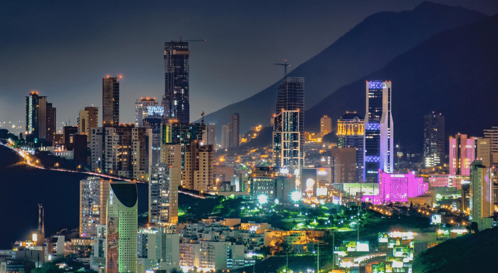 Aerial view of Mexican modern skyline.